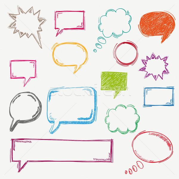Stock photo: Colored Handdrawn Speech Bubble Set