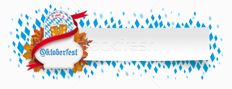 Paper Banner Oktoberfest Emblem Foliage Beer Glasses Ribbon Stock photo © limbi007