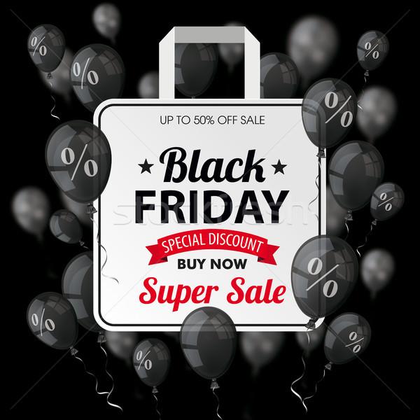 Black friday preto balões bolsa de compras escuro eps Foto stock © limbi007