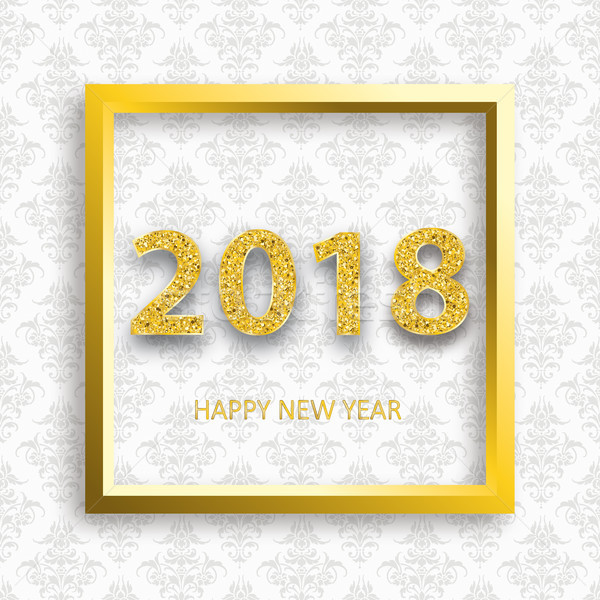 2018 Golden Frame Ornaments Wallpaper Stock photo © limbi007