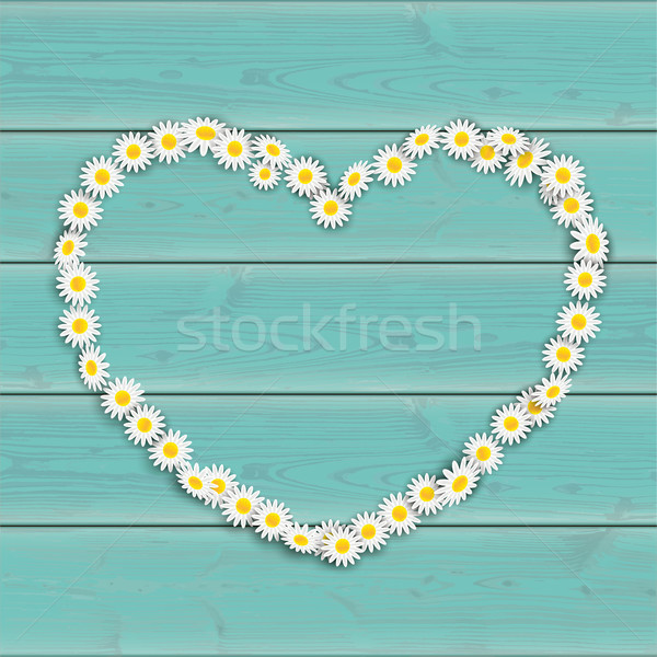Tavasz türkiz százszorszép virágok szív fa asztal Stock fotó © limbi007
