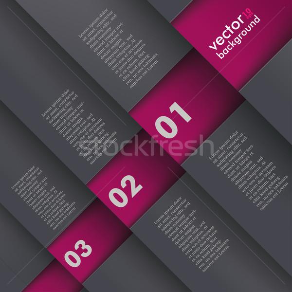 Template Design 5 Options Depth Bevel Black Purple Stock photo © limbi007
