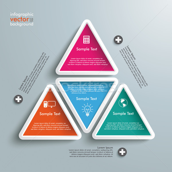 Big Triangle With Four Colored Triangles Infographic Stock photo © limbi007