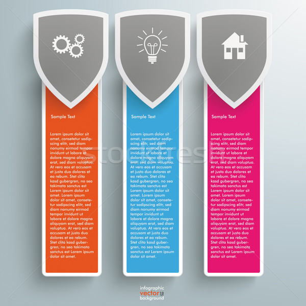 Three Colored Protection Shield Oblong Banners Stock photo © limbi007