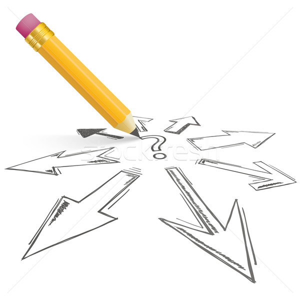 Question Arrows All Directions Pencil Stock photo © limbi007