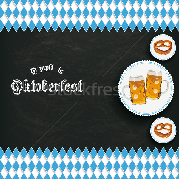 Bavarian National Colors Blackboard Centre Beer Pretzel PiAd Stock photo © limbi007