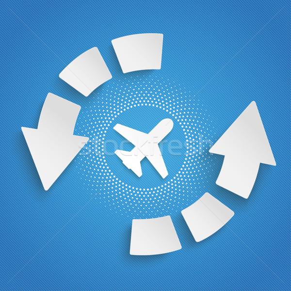 Arrows Cycle Infographic Plane Halftone Stock photo © limbi007