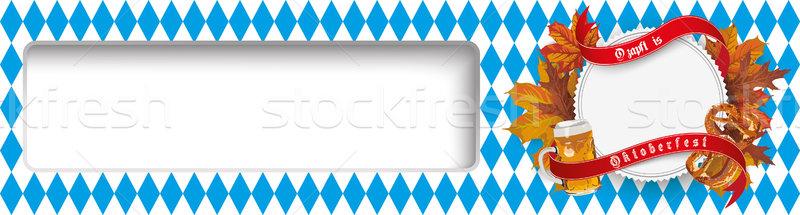 Октоберфест эмблема листва пива кренделек Сток-фото © limbi007