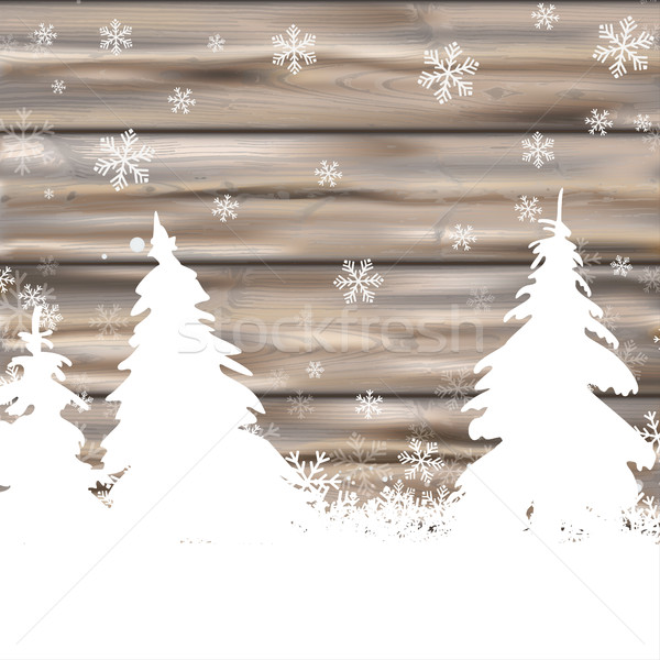 Christmas Snow Winter Worn Wood Fir Trees Stock photo © limbi007