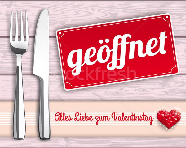 Wood Checked Cloth Knife Fork Sign Geoeffnet Stock photo © limbi007