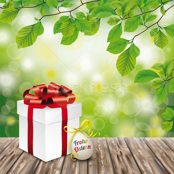 Wooden Ground Gift Easter Egg Ostern Emblem Green Nature Stock photo © limbi007