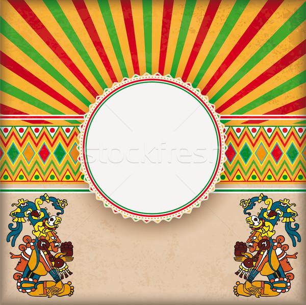 Cover Retro Sun Mexican Ornaments Emblem Maya Gods Stock photo © limbi007