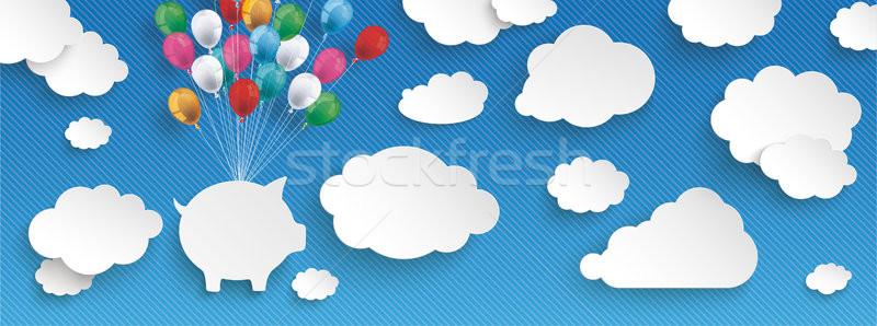 Paper Clouds Striped Blue Sky Balloons Piggy Bank Header Stock photo © limbi007