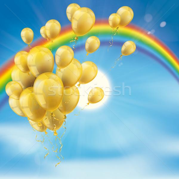 Rainbow Sky Clouds Sun Golden Balloons Bunch Stock photo © limbi007