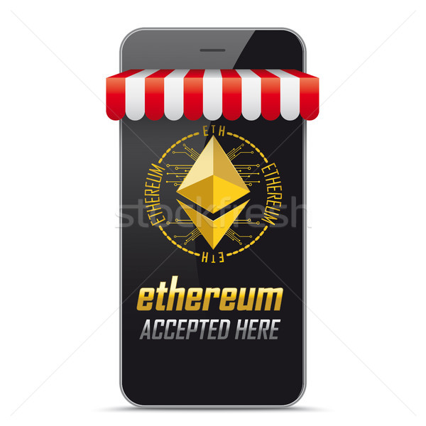 Smartphone Shop Marquee Ethereum Accepted Here Stock photo © limbi007