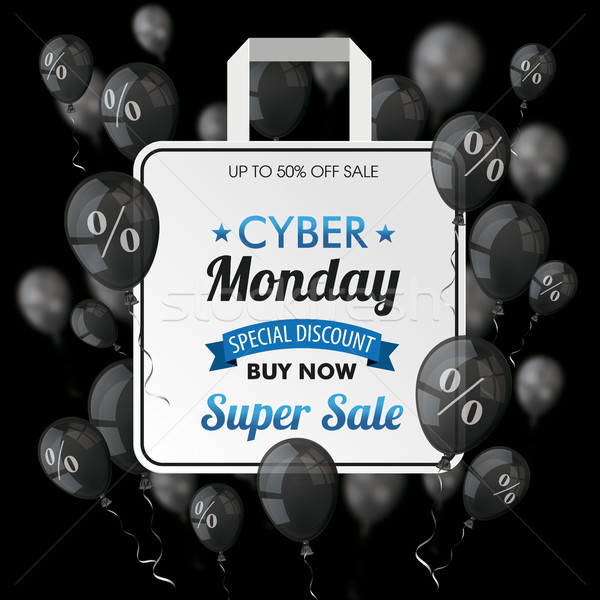 Cyber Monday Black Balloons Shopping Bag Percents Cover Stock photo © limbi007