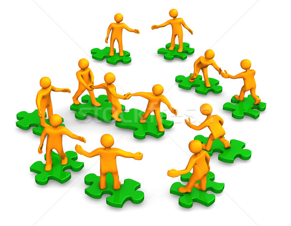 Teamwork Business Company Green Puzzle Stock photo © limbi007