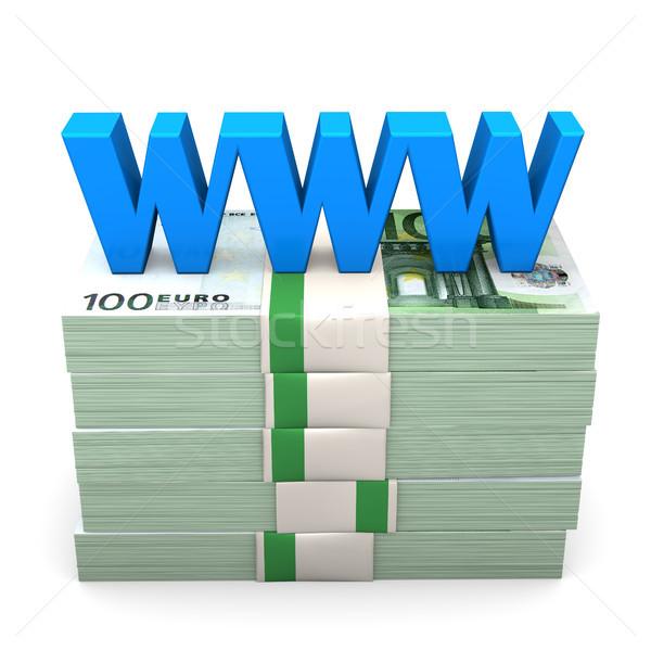 Www euro dinheiro notas azul texto Foto stock © limbi007