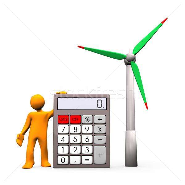 Rüzgar türbini hesaplama turuncu hesap makinesi kadın Stok fotoğraf © limbi007