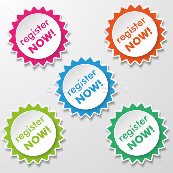 Register Now Star Paper Labels Stock photo © limbi007