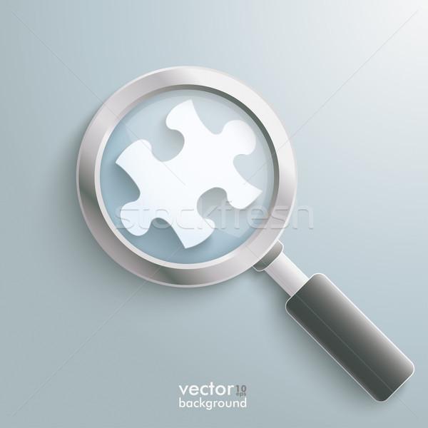 Fehér puzzle darab nagyító infografika terv Stock fotó © limbi007