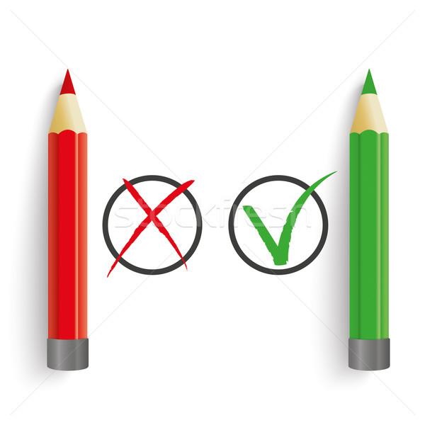 Rood groene pennen verkeerd cirkels Stockfoto © limbi007