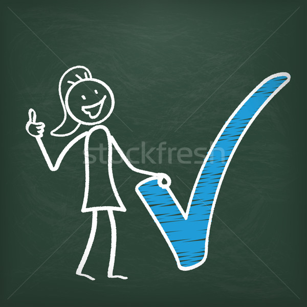 Blackboard Stickwoman Blue Tick Ok Stock photo © limbi007