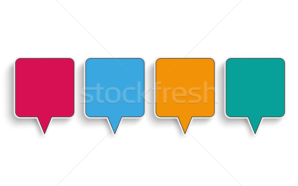 4 Colored Quadratic Speech Bubbles Stock photo © limbi007