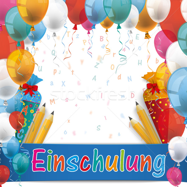 Balloons Einschlung Candy Cones Pencils Letters Stock photo © limbi007