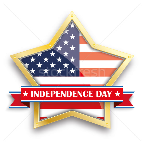 Independence Day Golden Star Ribbon Stock photo © limbi007