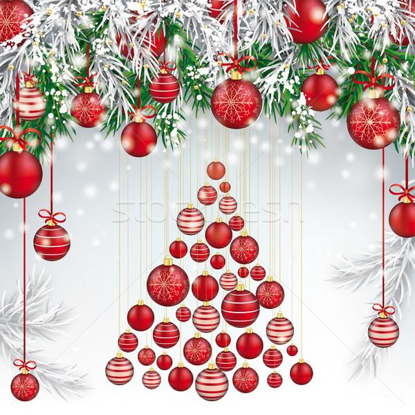 ストックフォト: クリスマス · 凍結 · 緑 · 赤 · ツリー