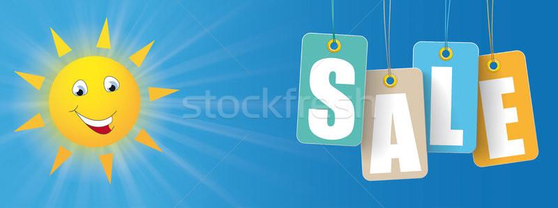 Sun Smiley Colored Price Stickers Slae Header Stock photo © limbi007