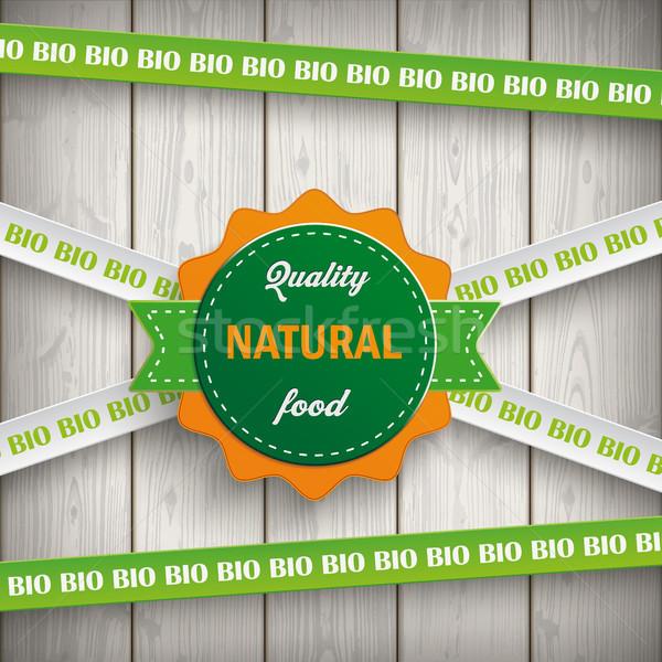 Biyo etiket hatları doğal gıda ahşap Stok fotoğraf © limbi007