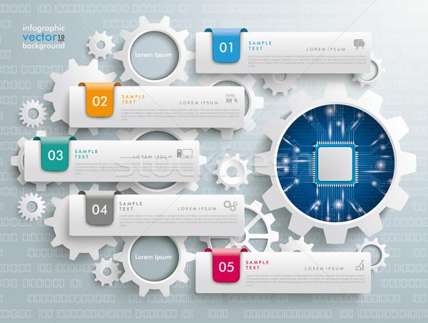 歯車 インフォグラフィック マイクロチップ カラフル ギア ストックフォト © limbi007