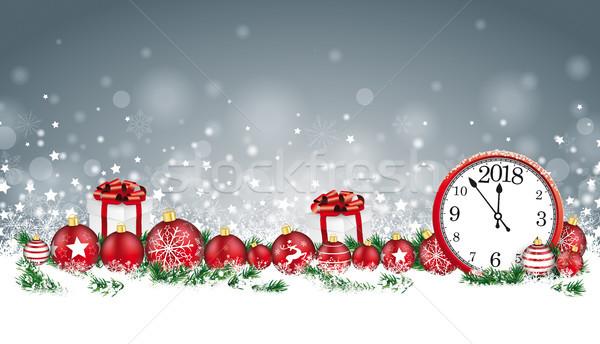 Christmas Card Header Gray Snowflakes Baubles Gifts Clock 2018 Stock photo © limbi007