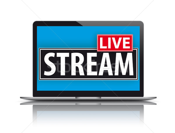 Notebook live stream tekst scherm eps Stockfoto © limbi007