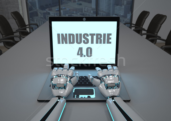 Robot Hand Conference Room Notebook Industrie 4.0 Stock photo © limbi007