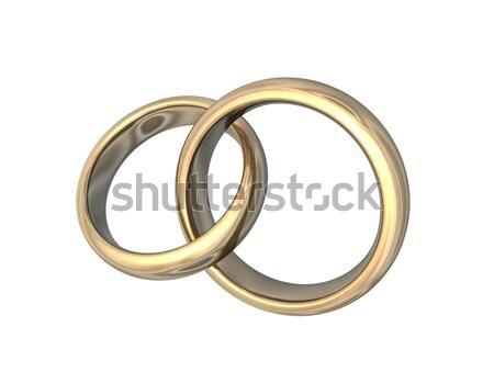 Casamento ouro 3D ilustração 3d dourado Foto stock © limbi007