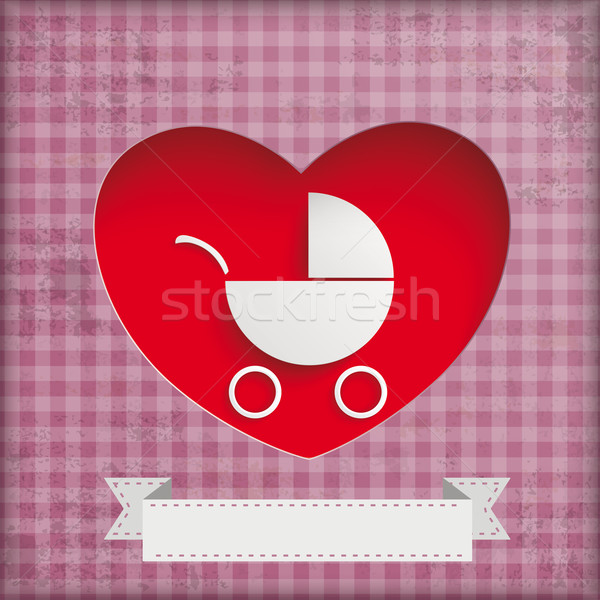 Vintage Baby Buggy Hole Hearts Stock photo © limbi007
