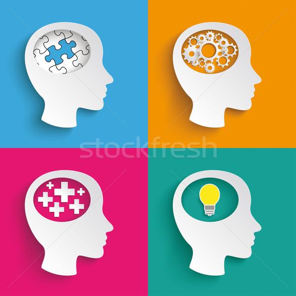 4 Heads Puzzle Plus Bulb Gear Stock photo © limbi007