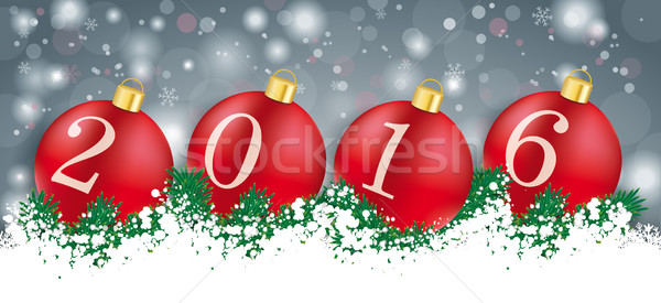 Long Grey Christmas Card Red Baubles 2016 Stock photo © limbi007