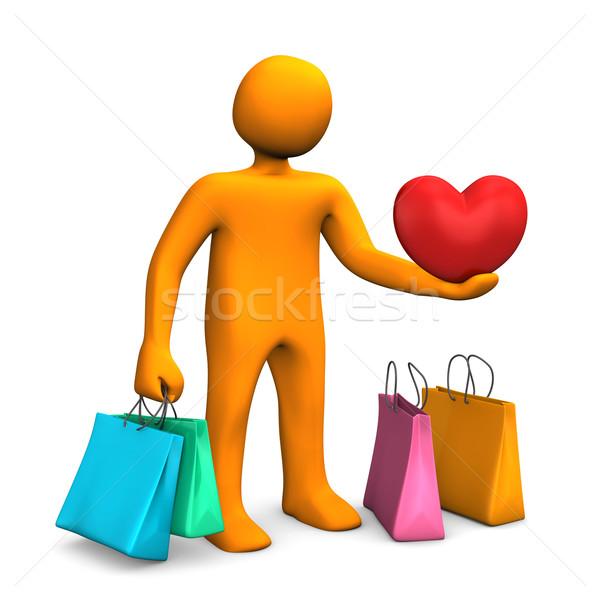 Manikin Shopping Bags Heart Stock photo © limbi007