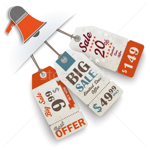 Convert Bullhorn 3 Price Stickers Stock photo © limbi007
