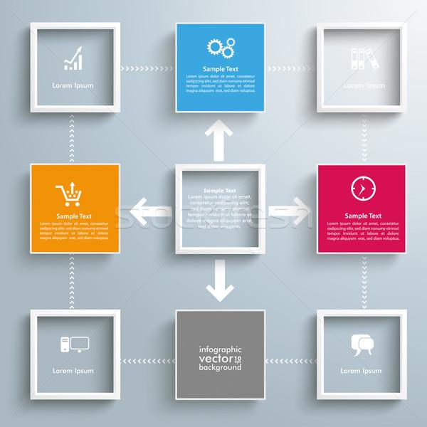 Négyzetek keret kiszervezés bicikli infografika terv Stock fotó © limbi007