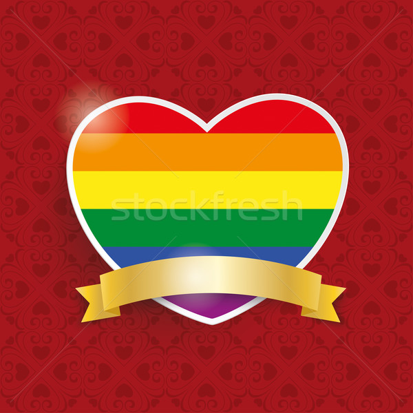 Regenboog hart gouden vlag ornamenten Rood Stockfoto © limbi007