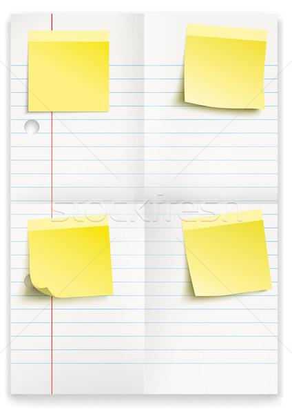 Lined Folded Paper Yellow Sticks Stock photo © limbi007