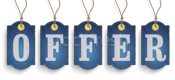 5 Classic Frayed Offer Jeans Price Stickers Stock photo © limbi007