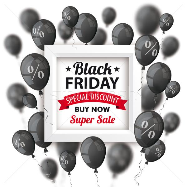 Black friday balões quadro cobrir preto branco Foto stock © limbi007