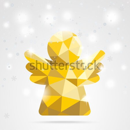 Christmas Cover Fir Twigs Red Baubles Lowpoly Angel Stock photo © limbi007