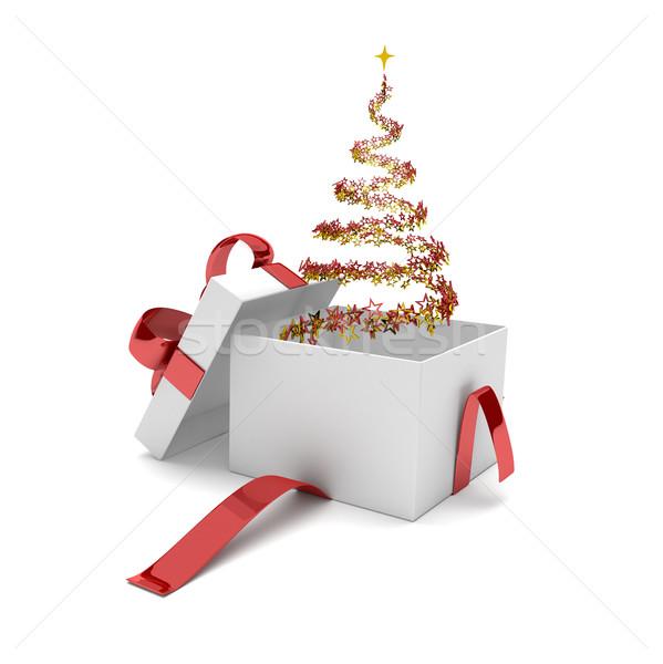 Opened Gift Carton Stardust Christmas Tree Stock photo © limbi007